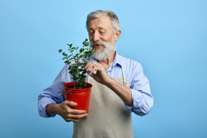 A person holding a plant.