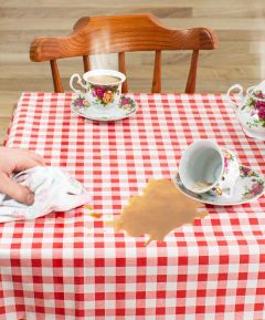Vinyl Wipeclean Tablecloth Check 54 Round